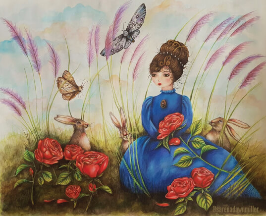 Sarena Dawn - fine art & illustration - Girl in blue dress sitting with rabbits and moths - sarenadawn.com