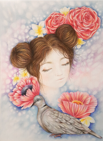Sarena Dawn - fine art & illustration - Ring neck dove - girl - sarenadawn.com